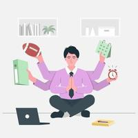 vielbeschäftigter Geschäftsmann, der Yoga-Meditation auf dem Schreibtisch mit Multitasking und Multifähigkeit macht. vektor