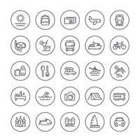 Reisen, Tourismus Linie Symbole auf Weiß, Reise, Reise, Tour, Urlaub, Kreuzfahrt, Outdoor-Aktivitäten.eps vektor
