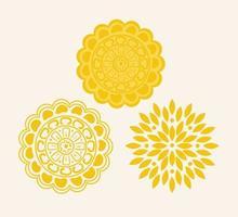 gelbes Mandala auf weißem Hintergrund, Vintage Luxus-Mandala-Set vektor