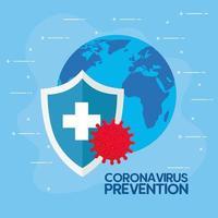 coronavirusförebyggande banner med skyddsskydd vektor