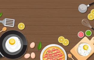 Eier, Pizza und Kochutensilien auf Holztisch vektor
