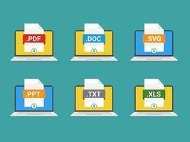 Dateiformate auf Laptop Flat Icons eingestellt. Whitepaper Dokumentpiktogramme mit verschiedenen Dateitypen, Erweiterungen. grafische Elemente des Webdesigns. Vektor Stock Illustration.