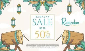 Hand gezeichnete Ramadan Kareem Verkaufsfahne mit islamischer Verzierungsillustration vektor