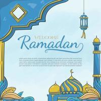 handgezeichneter Willkommens-Ramadan mit islamischer Verzierung vektor