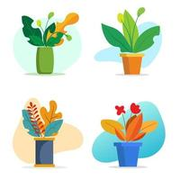 Pflanzen und Blumenvasen. die Elemente für das Grafikdesign. flacher Stil. vektor