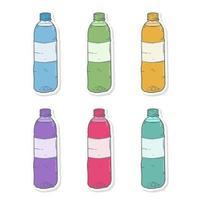 handritad tecknad plastflaska klistermärke med olika färger vektor