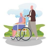 gammal man går utomhus med gammal kvinna i rullstol vektor