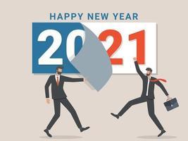 Auf Wiedersehen 2020. Ein Geschäftsmann reißt ein Kalenderblatt des ausgehenden Jahres ab. Abschied vom kommenden Jahr. vektor