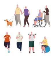 grupp gamla människor som gör olika aktiviteter vektor