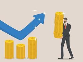 Geschäftsmann erhöht das Budget, das Konzept der Erhöhung der Finanzen