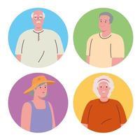 söta gamla människor på runda ramar vektor