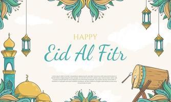handritad eid al fitr-banner med islamisk prydnadsillustration vektor