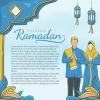 handgezeichneter Willkommens-Ramadan mit islamischem Ornament und muslimischem Charakter vektor