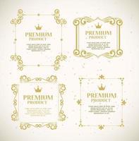 uppsättning premiumproduktetiketter på guldramar vektor
