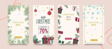 Satz Weihnachtsverkauf Social-Media-Geschichten