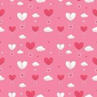 Valentinstag Herzballons und Wolke fliegen auf rosa Himmel Hintergrund. nahtloses Muster für Valentinstag-Grußkarte