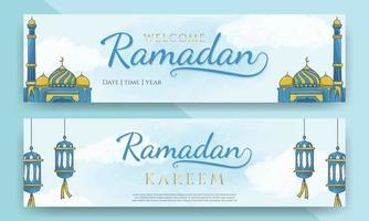 horizontale Banner des Ramadan Kareem mit handgezeichneter islamischer Verzierung vektor