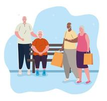 söta gamla människor utomhus vektor