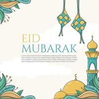 eid mubarak grüßt schöne beschriftung auf dem handgezeichneten islamischen ornamenthintergrund vektor