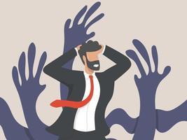 ein psychologisches Konzept, ein Geschäftsmanncharakter, umgeben von riesigen kriechenden Händen. Männer, die durch Arbeitsdruck Angst haben oder gestresst sind. Psychische Gesundheit vektor