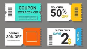Satz Coupon-Verkaufsetiketten vektor