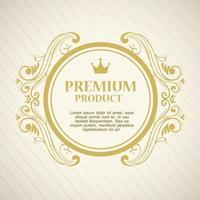 premiumproduktetikett i en rund guldram