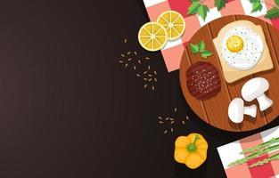 ägg på rostat bröd med kött och grönsaker på träbord