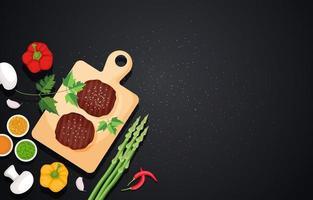 köttbiffar på träskärbräda med grönsaker