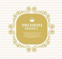premiumproduktetikett på en guldram