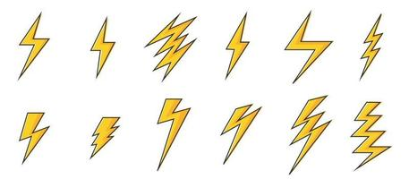 Blitzsymbole eingestellt vektor