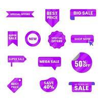 etikett shopping försäljning samling vektor