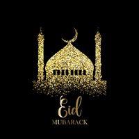 Glitter Eid Mubarak bakgrund vektor