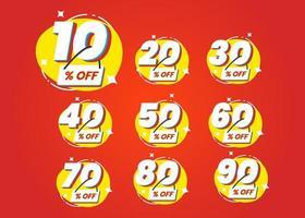 Anzahl der speziellen Rabatt Zeichen Vorlage Design-Set vektor