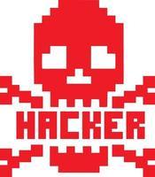 Pixel Schädel-Vintage Design T-Shirts vektor