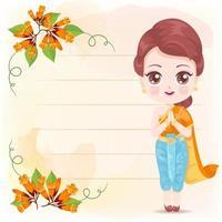 vacker thailändsk kvinna med orange blommor vektor