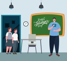 glad lärardag, med lärare och söta elever i klassrummet vektor