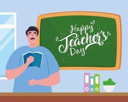 glad lärardag, med lärare och svarta tavlan vektor