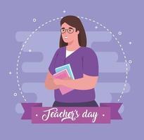 glad lärardag, med lärare och bok vektor
