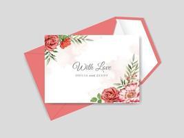 schöne Blumenhand gezeichnete Hochzeitseinladungskarte
