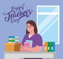 glad lärardag, med lärare på skrivbordet och böcker vektor