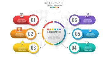 Infograph 6-Stufen-Farbelement mit Kreisgrafikdiagrammdiagramm, Geschäftsgraphendesign. vektor