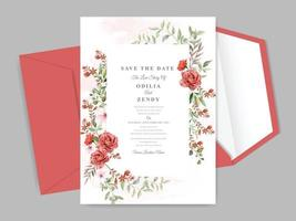 schöne und elegante florale Hand gezeichnete Hochzeitseinladungskartenschablone vektor
