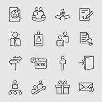 mänskliga resurser linje ikonuppsättning vektor