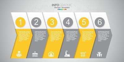 Infografik 6 Elemente gelbes Thema für Inhalt, Diagramm, Flussdiagramm, Schritte, Teile, Zeitachse, Workflow, Diagramm. vektor