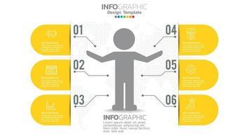infograph 6 steg gul färgelement med cirkeldiagramdiagram, affärsgrafdesign. vektor