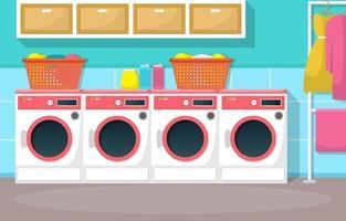 tvättomat med tvättmaskiner och korgar vektor