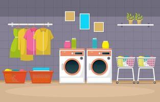 tvättomat med tvättmaskiner och hyllor vektor