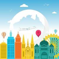 Skyline von Melbourne Australien auf Globus, Welttourismustag vektor