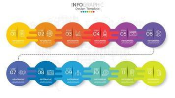 Timeline Infografik Vorlage mit 12 Monaten. vektor