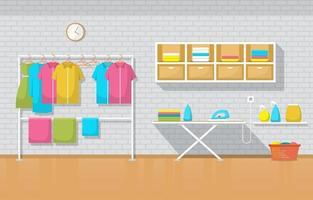 tvättomat med klädställning och strykbräda vektor